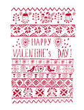 Valentines day greeting card in vintage hipster style. Stock Photo