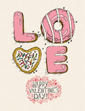 Valentines day greeting card in vintage hipster style. Stock Photography