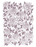 Valentines day greeting card in vintage hipster style. Stock Image
