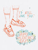 Valentines day greeting card in vintage hipster style. Stock Photos