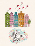 Valentines day greeting card in vintage hipster style. Royalty Free Stock Photo