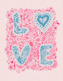 Valentines day greeting card in vintage hipster style. Royalty Free Stock Photography