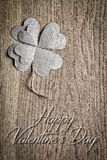 Valentines Day. Greeting card on wooden background. Royalty Free Stock Image