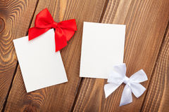 Valentines day greeting cards or photo frames with bow Stock Image