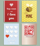 Valentines day greeting cards vector set Royalty Free Stock Images