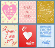 Valentines day greeting cards vector set Royalty Free Stock Photo