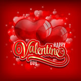 Valentines day greeting with heart baloons and golden lettering on red shiny background- vector illustration. stock illustration