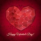 Valentines day greeting heart of the triangles Royalty Free Stock Photos