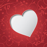 Valentines day greeting or invitation card with paper cut heart over floral seamless pattern. Stock Photography