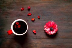 Valentines day greeting postcard. Flower and big red cup of coffee on wooden background. Festive concept. Top view. Closeup, copy space stock photography
