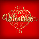 Valentines day greeting with red heart balloons. Valentines day greeting with gold ornate heart and gold lettering on red background- vector illustration Royalty Free Stock Photo