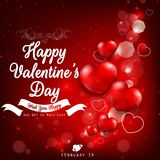 Valentines day greeting with red heart balloons Royalty Free Stock Photography