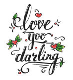 Valentines day greetings card with lettering Stock Photography