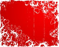 Valentines Day grunge frame with hearts and flower Royalty Free Stock Images