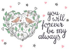 Valentines day hand drawn doodle card Royalty Free Stock Images