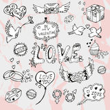 Valentines day hand drawn doodles Royalty Free Stock Photos