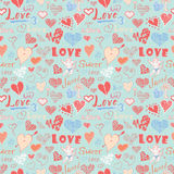 Valentines day hand drawn elements seamless pattern. Sketched doodle elements hearts symbols and lettering for wedding invitations Stock Photography
