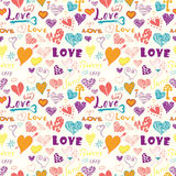 Valentines day hand drawn elements seamless pattern. Stock Images