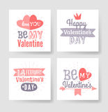 Valentines day hand drawn greeting card. Isolated vector illustration. Pink, red and violet palette Stock Illustration