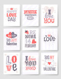 Valentines day hand drawn greeting card. Isolated vector illustration. Pink, red and violet palette Vector Illustration