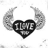 Valentines Day hand drawn heart with type design Stock Photos