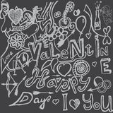 Valentines day hand-drawn symbols collection. Vector Royalty Free Stock Image