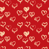 Valentines day hand drown hearts seamless pattern.  Royalty Free Stock Photo