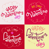 Valentines day hand-lettering cards Royalty Free Stock Photography