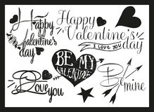 Valentines day hand lettering in vintage style Stock Images