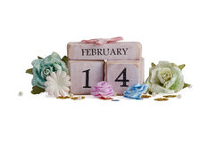Valentines Day. Handmade cubes with date of Valentines day and flowers Stock Images