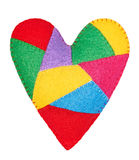 Valentines Day Handmade Heart of colorful pieces. Love concept Royalty Free Stock Photos
