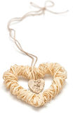 Love hearts, Valentines Day. Heart made of straw Stock Images