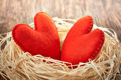Valentines Day. Handmade Hearts Couple in nest. Love concept. Stock Photos
