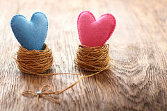Love, Valentines Day. Hearts couple, wood. Vintage. Love hearts handmade on wooden background. Valentines  Day. Couple in nests. Vintage romantic style. Vivid Stock Photography