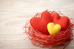 Valentines Day. Handmade Hearts Couple in Red nest. Love concept Royalty Free Stock Photography