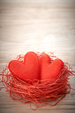 Valentines Day. Handmade Hearts Couple in Red nest. Love concept Royalty Free Stock Photo