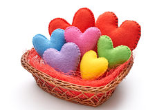 Love, Valentines Day. Hearts handmade in nest. Love hearts, Valentines Day. Hearts handmade in nest. Family made of multicolored felt. Romantic style. Vivid Royalty Free Stock Photos