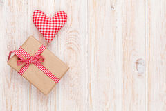 Valentines day handmaded toy heart and gift box Royalty Free Stock Images
