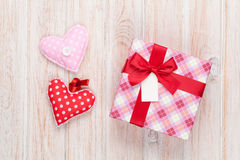 Valentines day handmaded toy hearts and gift box Royalty Free Stock Photo