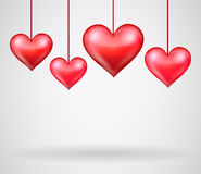 Valentines day with hanging hearts Royalty Free Stock Photo