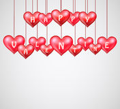 Valentines day with hanging hearts Stock Photography