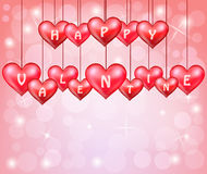 Valentines day with hanging hearts Royalty Free Stock Photography
