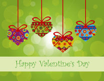Valentines Day Hanging Hearts Ornaments. Happy Valentines Day Hanging Heart Shape Christmas Tree Ornaments with Tribal Motif on Bokeh Background Illustration Royalty Free Stock Photography