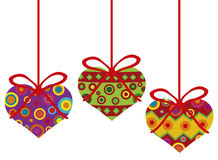 Valentines Day Hanging Hearts Ornaments. Happy Valentines Day Hanging Heart Shape Christmas Tree Ornaments with Tribal Motif Illustration Stock Images