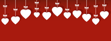 Valentines day hanging ornaments. With shadow, vector Royalty Free Stock Photos