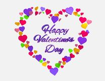 Happy Valentines Day Heart 3d. Happy Valentines Day 3d text with love heart symbol royalty free illustration