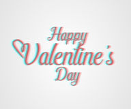 Valentines day. Happy Valentines day lettering card. 3d visual effect  illustration Royalty Free Stock Image