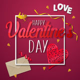Valentines day. Happy Valentines day lettering card. Vector illustration Stock Image