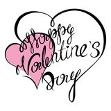 Valentines day. Happy Valentines Day typography poster with handwritten calligraphy text, isolated on white background. Vector Illustration Stock Photo