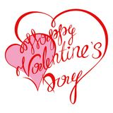 Valentines day. Happy Valentines Day typography poster with handwritten calligraphy text, isolated on white background. Vector Illustration Royalty Free Stock Image